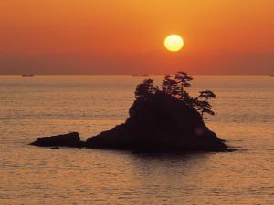 松島に沈む夕日